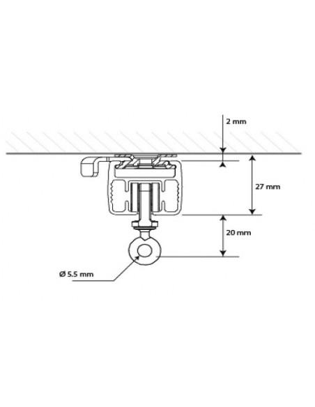 Przekrój karnisza elektrycznego Somfy
