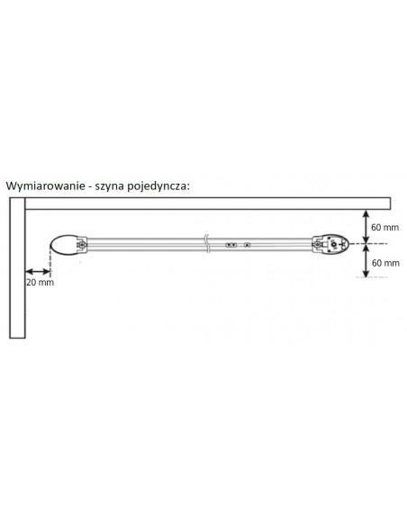 Wymiarowanie pojedynczej szyny karnisza elektrycznego