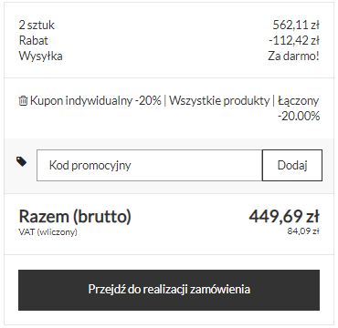 Kupony rabatowe - kod promocyjny